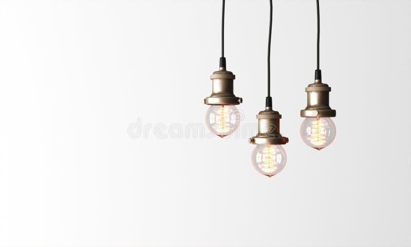 Loft pendant lamps with edison light bulbs. stock photography
