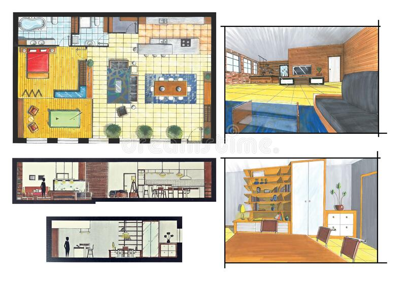 Loft project. Interior hand drawing design project royalty free illustration