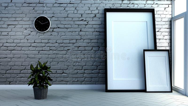 Mock up Loft room interior, brick wall and white wooden floor background. 3D rendering stock illustration