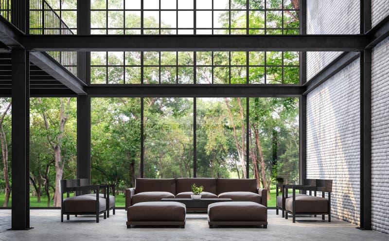 Loft a sala de visitas do estilo com imagem da rendição da opinião 3d da natureza ilustração do vetor