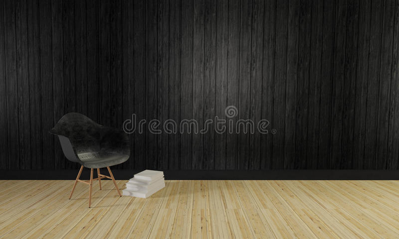 Download Loft And Simple Living Room Wooden Wall Background 3d Render Stock Illustration