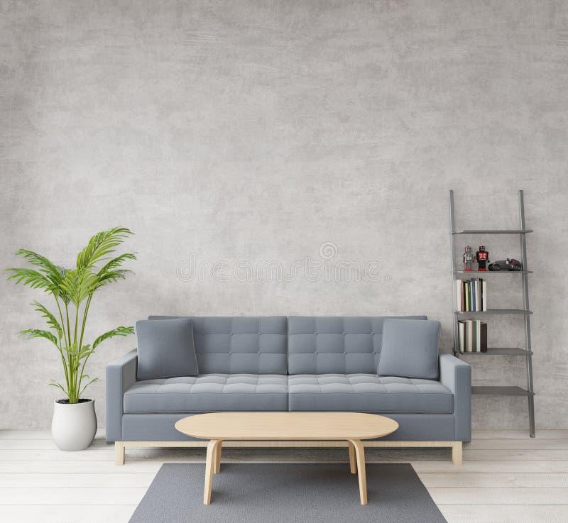 Loft-stijl woonruimte met ruw beton, houten vloer, sofa, beeld voor kopieerruimte of mock-up royalty-vrije illustratie