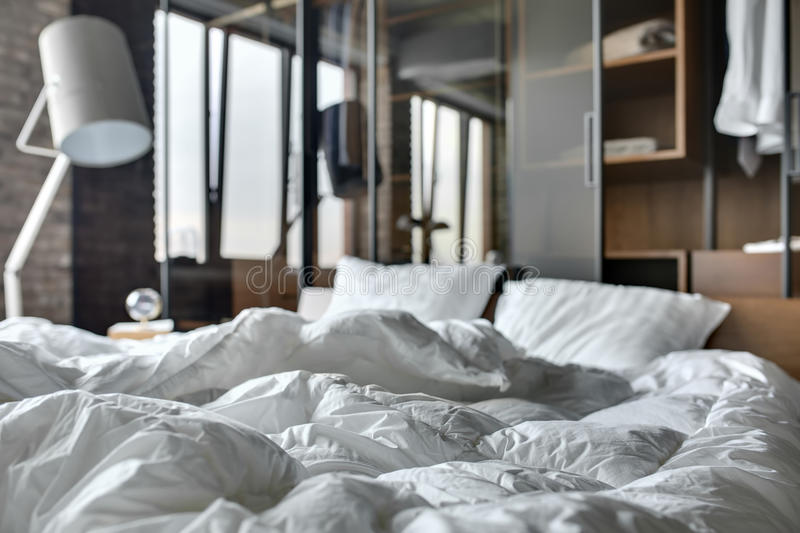 Loft style bedroom stock images