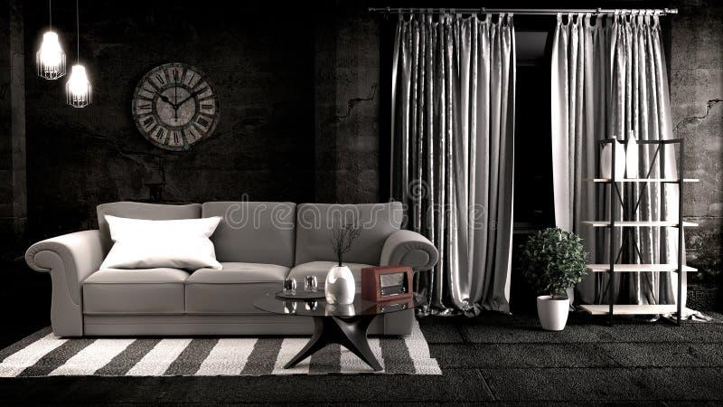 Loft style in dark room interior design. 3D rendering stock photos