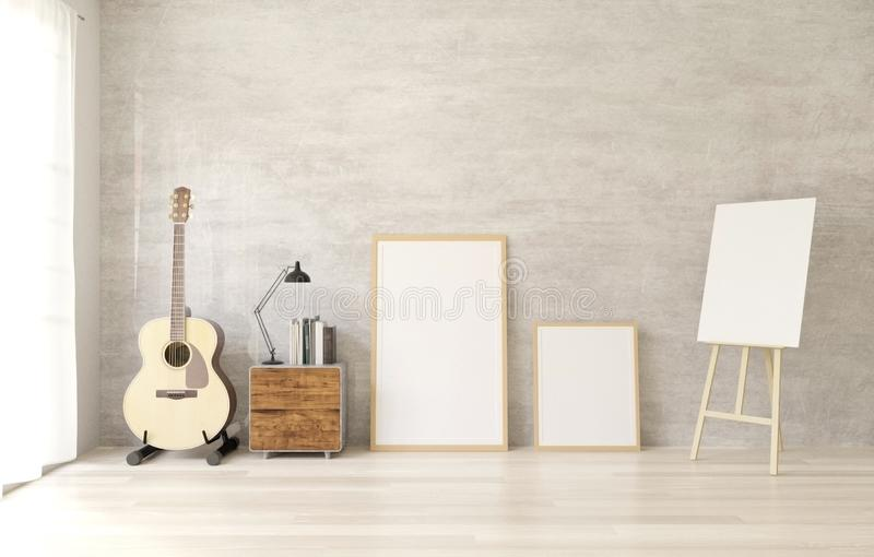 3d rendering white Poster frame mockup on the wooden floor ,raw concrete wall vector illustration