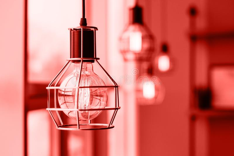 Glowing light bulbs in the loft style. Loft style light bulbs glowing near window. Warm light. Coffee shop interior. Trendy color spring-summer 2019 royalty free stock images