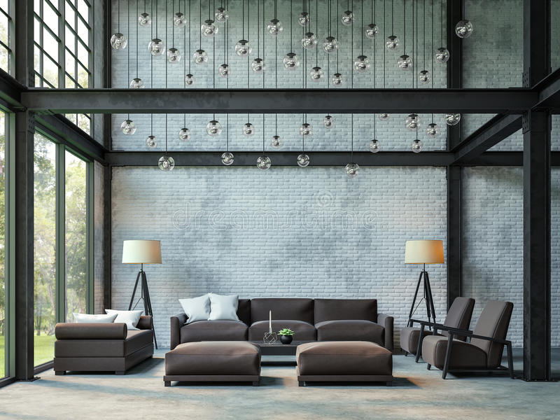 Loft style living room 3d rendering image. stock illustration