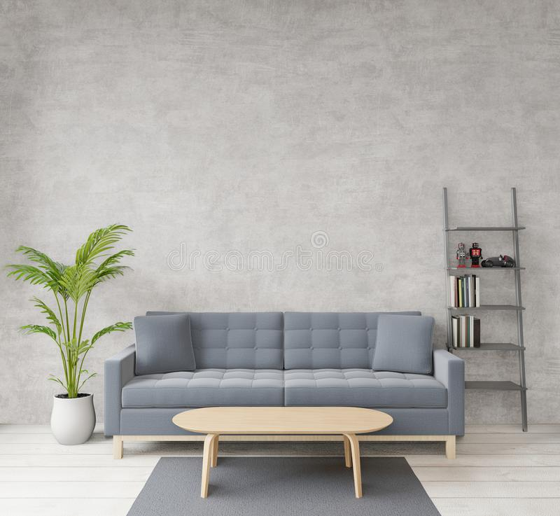 Loft style living room with raw concrete ,wooden floor,sofa,image for copy space or mock up. 3D rendering Loft style living room with raw concrete ,wooden floor royalty free illustration
