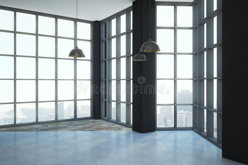 Loft style room. Empty modern loft style room with floor-to-ceiling window and megapolis city view. 3D render vector illustration