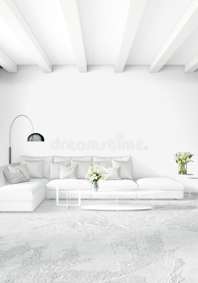 Loft sypialnia w nowożytnym stylowym wewnętrznym projekcie z eklektyk ścienną i elegancką kanapą świadczenia 3 d royalty ilustracja