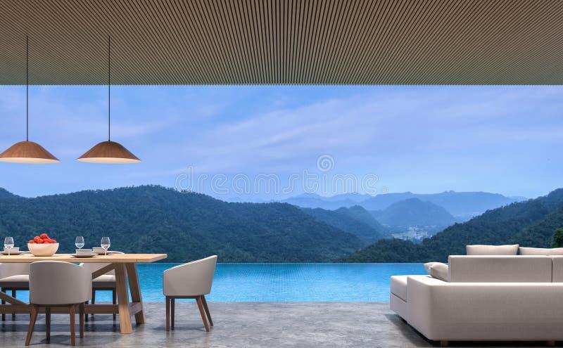 Loft a vida e a sala de jantar da casa de campo da associação do estilo com imagem da rendição do Mountain View 3d ilustração royalty free