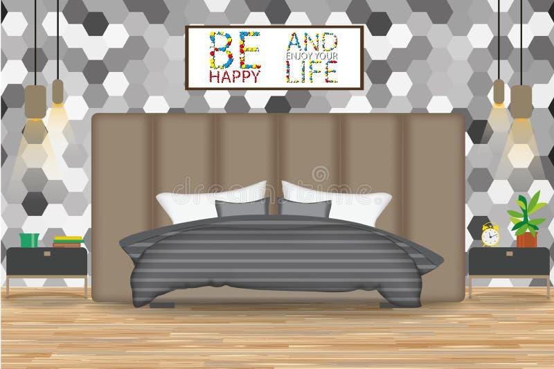 Loft Wewnętrznego projekta wektoru Stylowa ilustracja Łóżko przed ścianą z tapetą Strona stoły, świeczniki, grafika Kreskówka Bed obraz royalty free