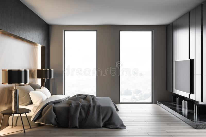 Loft white and gray bedroom interior with TV vector illustration