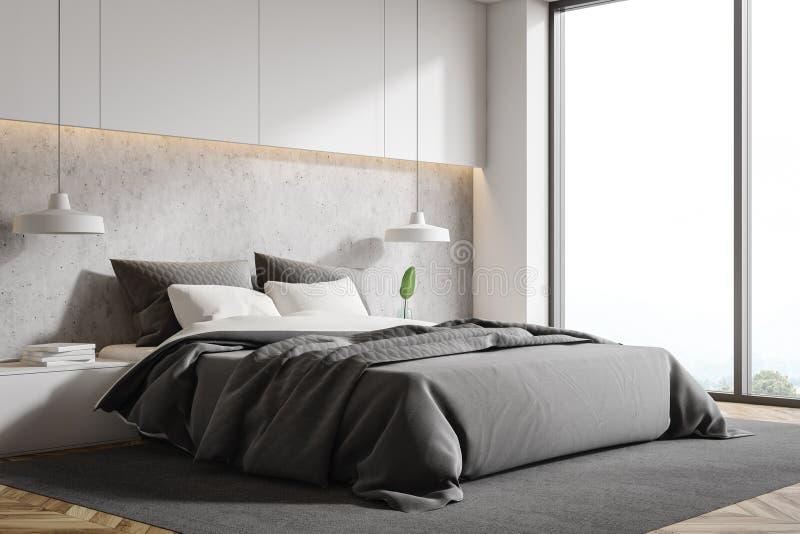 Loft white and stone bedroom corner stock illustration