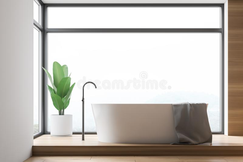 Loft white and wooden bathroom with tub stock illustration