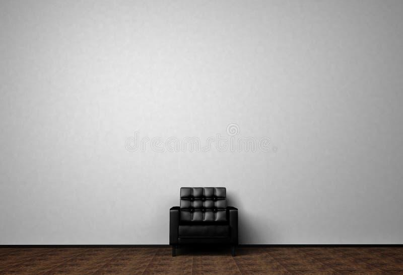 Loft wnętrza egzamin próbny w górę fotografii czarna skórzana sofa Minimalisty styl Tło fotografia z kopii przestrzenią dla tekst royalty ilustracja