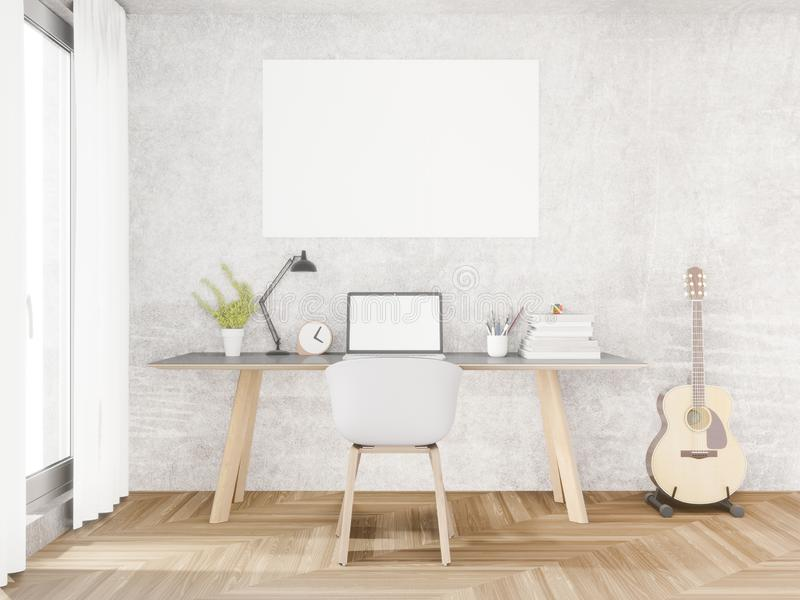 Loft working space ,mock up ,copy space ,3d rendering. Guitar stock illustration