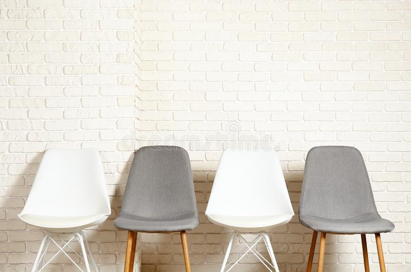 Lofty style chair with nobody sitting on it. Available seats royalty free stock photography