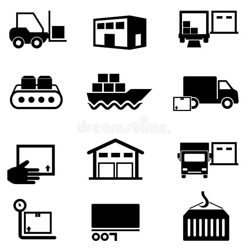 Logística, cadeia de aprovisionamento, distribuição, armazenando e enviando ilustração do vetor