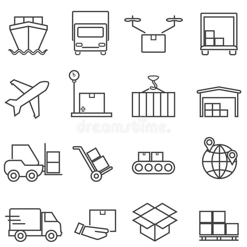 Logística, carga e linha de transporte ícones ilustração royalty free
