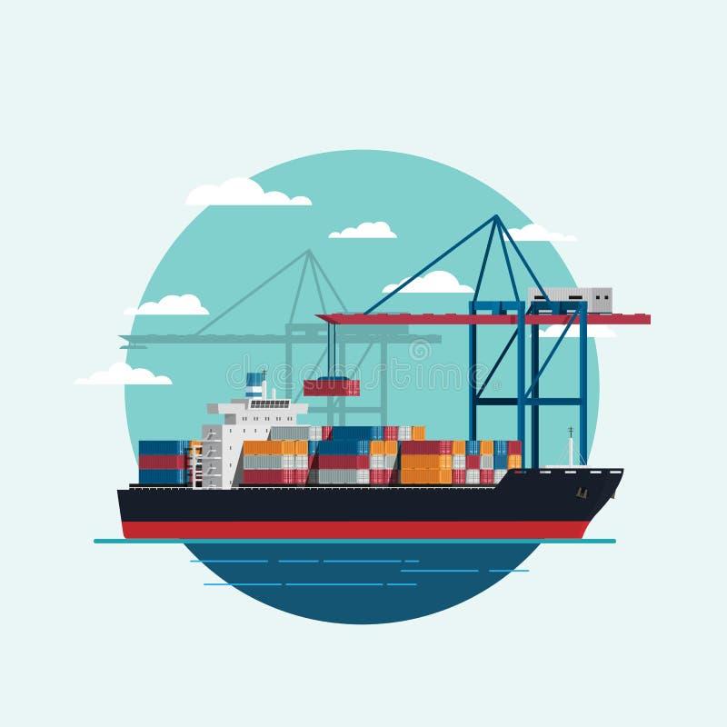 Logística da carga que é navio de recipiente carregado com guindaste de trabalho mim ilustração do vetor