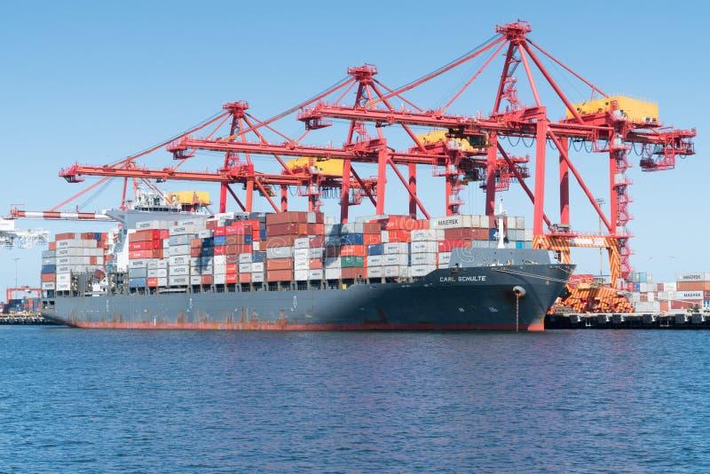 Logística de comércio global, Containership imagens de stock royalty free