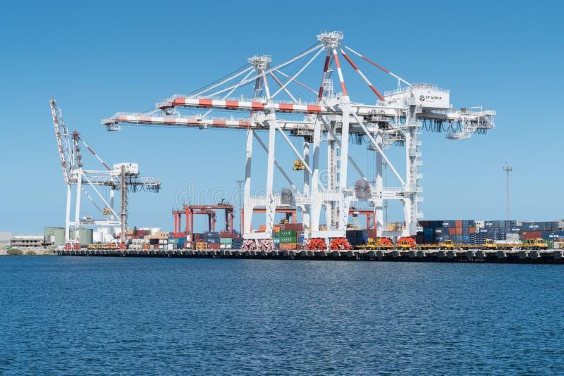 Logística de comércio global, porto de Fremantle, Austrália imagem de stock