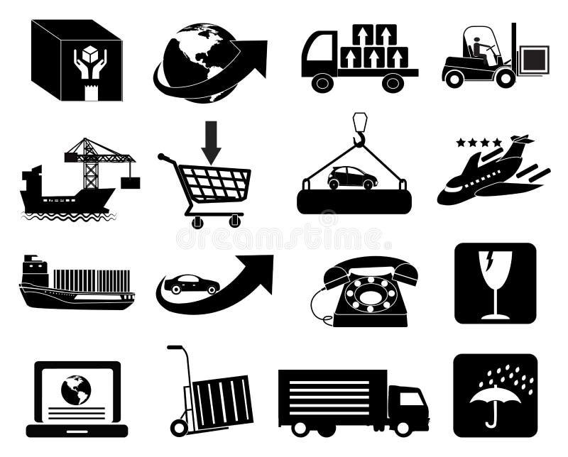 Logística de Warehouse que empaqueta e iconos de la entrega fijados libre illustration