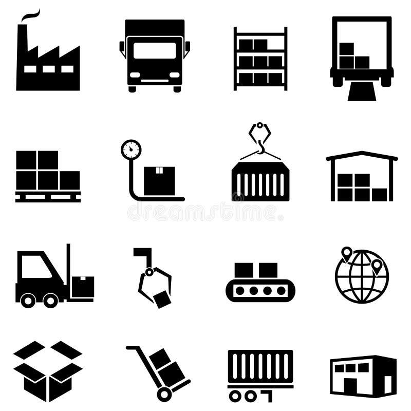 Logística, distribuição e ícones do armazém ilustração royalty free