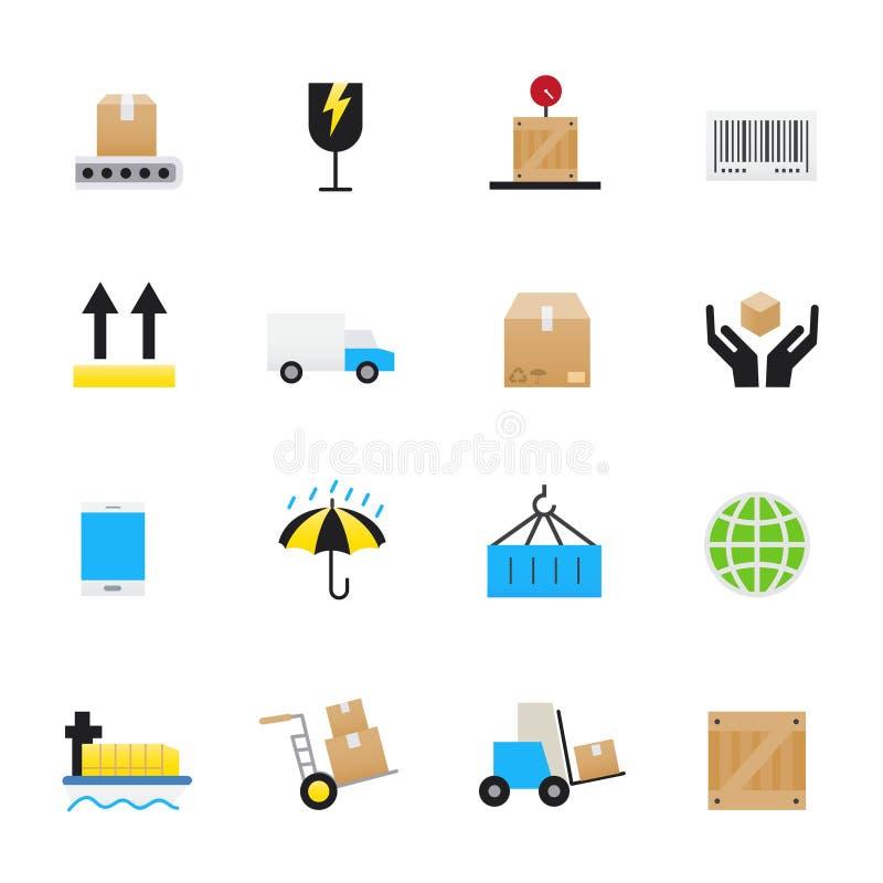 Logística e ícones do transporte Grupo de negócio, estilo liso dos ícones da cor da ilustração do vetor da finança ilustração stock