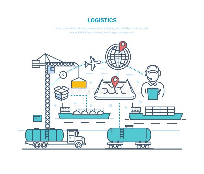 Logística Entrega de la organización, transportando el cargo, seleccionando transporte, ruta óptima stock de ilustración