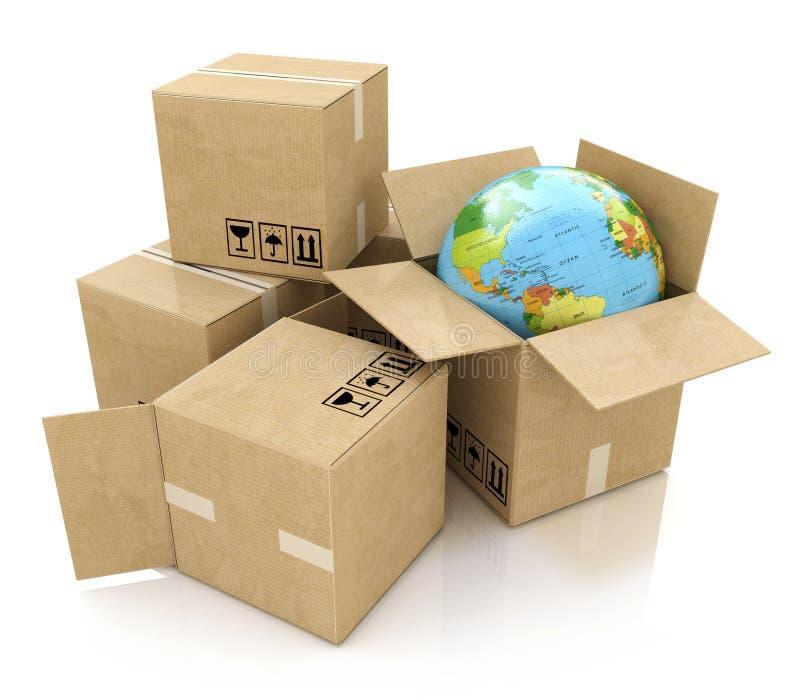 Logística global, envío y conce mundial del negocio de la entrega libre illustration