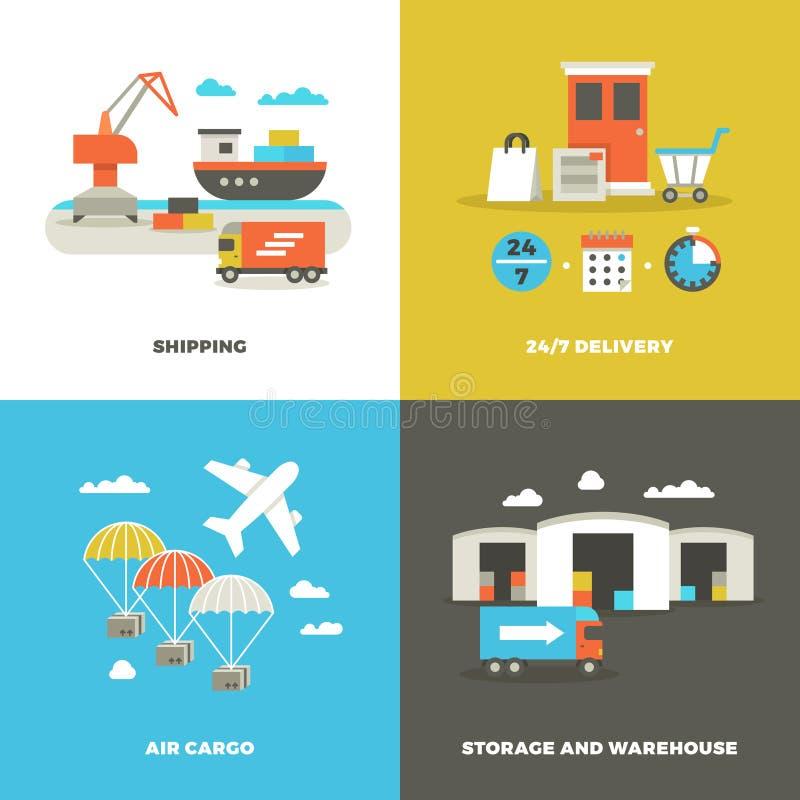 Logística mundial del envío y almacén industrial Tecnología de la cosecha y en conceptos del vector de la entrega del tiempo libre illustration