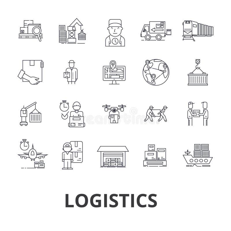 Logística, transporte, almacén, cadena de suministro, camión, distribución, línea iconos de la nave Movimientos Editable Diseño p ilustración del vector