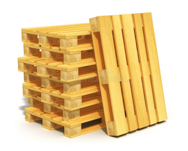 Pilha de páletes de madeira do transporte ilustração royalty free