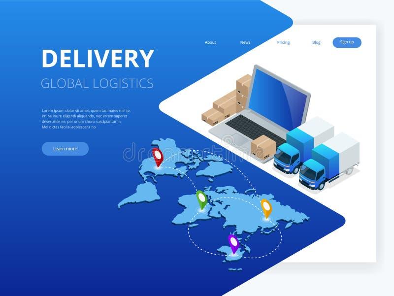 Logística y entrega isométricas Infographics Hogar y oficina de la entrega Logística de la ciudad Warehouse, camión, carretilla e stock de ilustración