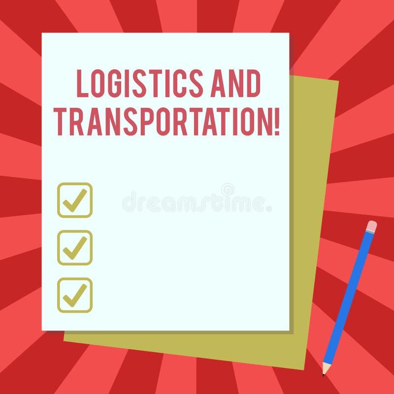 Logística y transporte del texto de la escritura de la palabra Concepto del negocio para entregar mercancías de proveedores a la  stock de ilustración