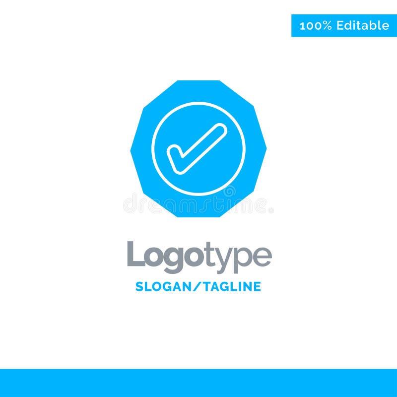 Logístico, aprovação, sucesso, Tick Blue Solid Logo Template Lugar para o Tagline ilustração do vetor