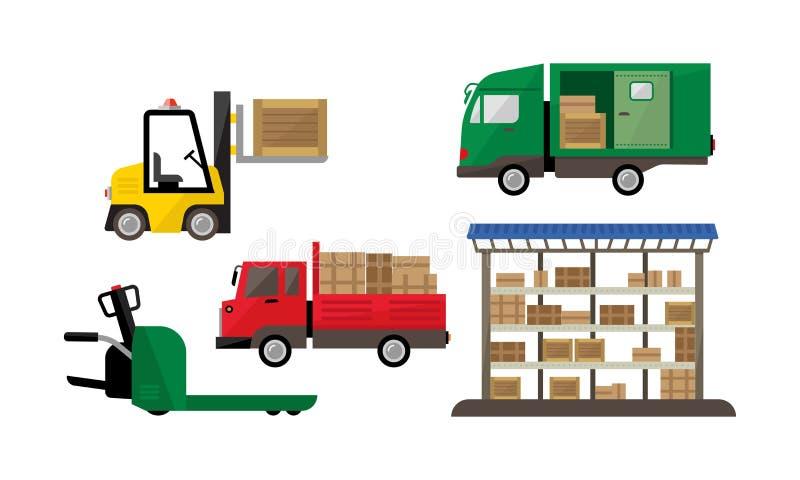 Logístico e transporte, armazém e transporte, entrega da carga, ilustração do vetor do armazenamento ilustração stock