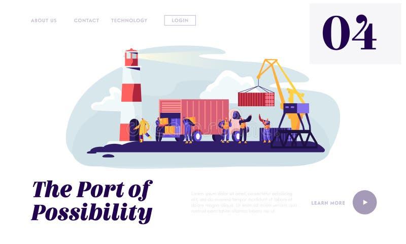 Log?stico mar?timo global Puerto de env?o con el puerto Crane Loading Container y trabajadores Carry Boxes del puerto del cami?n  stock de ilustración