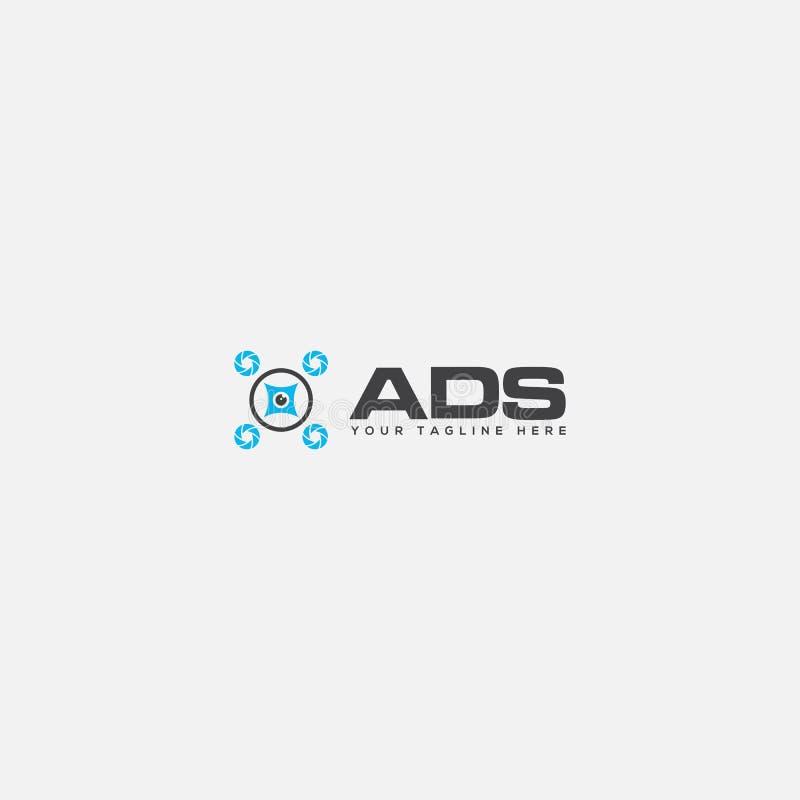 Logótipo do sistema de drone automático do ADS ilustração do vetor