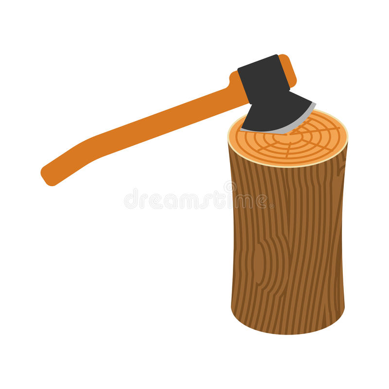 Log and axe isolated. Wooden billet and ax on white background.  stock illustration