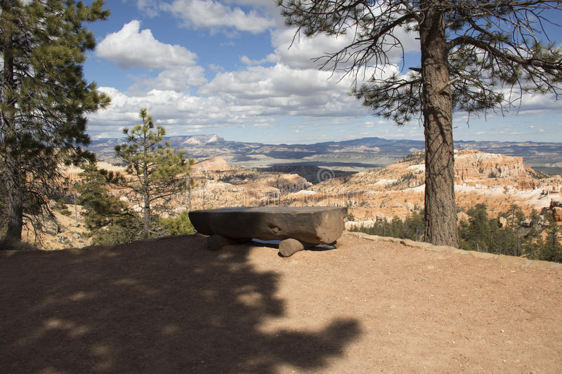 Log bench overlooking the canyon royalty free stock photography