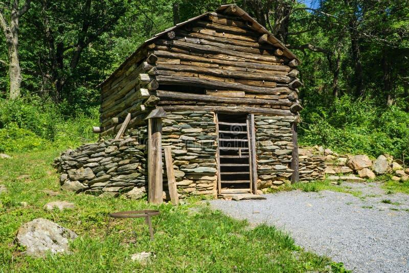 Log Building Exhibit at the Humpback Rocks Farm Museum. Waynesboro, VA, June 11th: A log building with a stone foundation exhibit at the Humpback Rocks Farm royalty free stock images