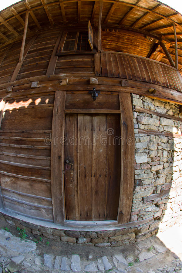 Log in Bulgarian rural house stock photo