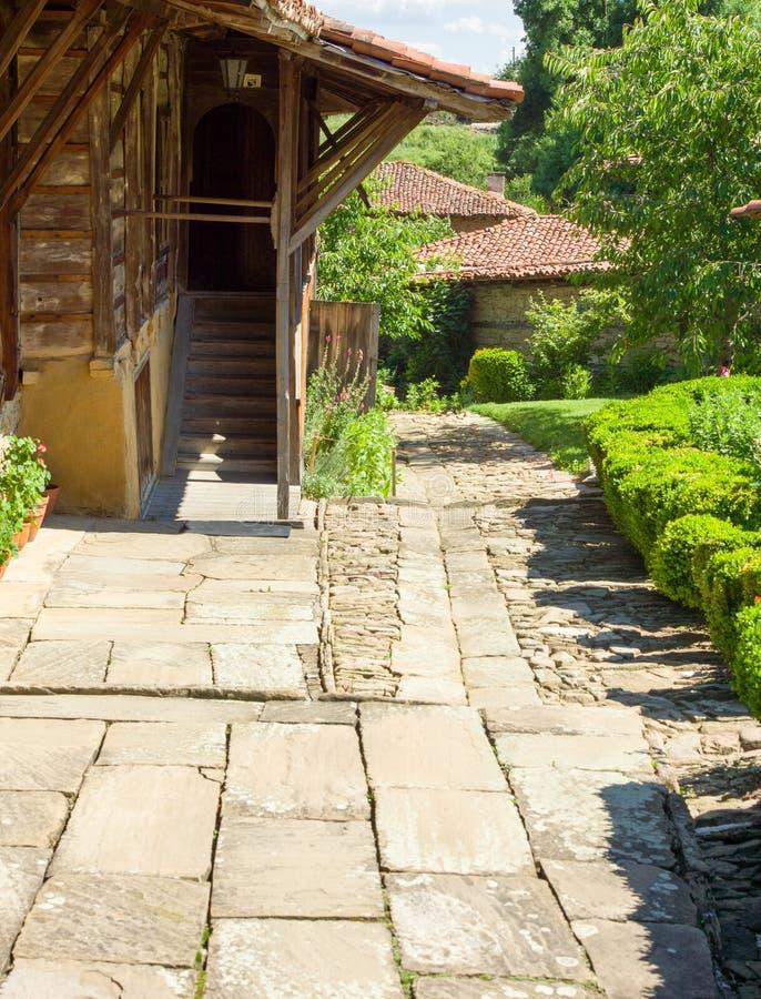 Log in Bulgarian rural house stock images