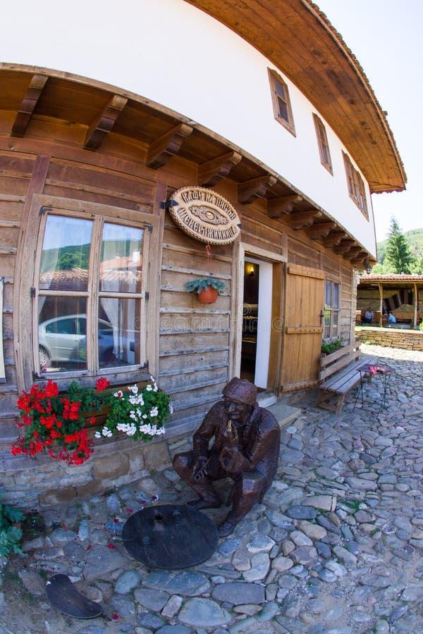 Log in Bulgarian rural tavern stock photo