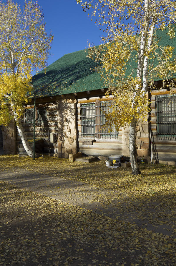Log cabin. In the National Park Grand Canyon, Arizona, United States royalty free stock photography