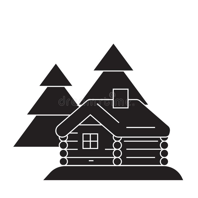 Log cabin black vector concept icon. Log cabin flat illustration, sign stock illustration