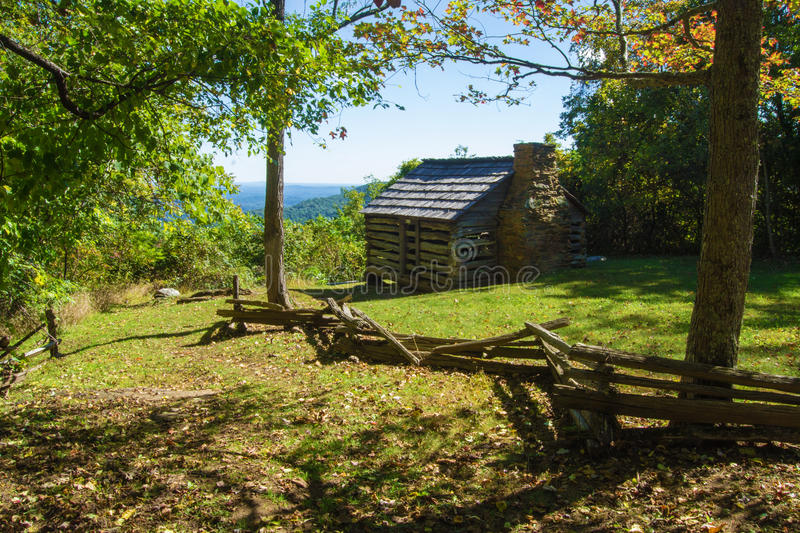 Log Cabin on the Blue Ridge Parkway. Log cabin located at Smart View Recreation Area on the Blue Ridge Parkway, Virginia, USA royalty free stock images